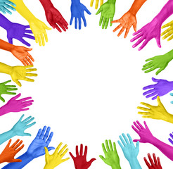 Group of Colorful Hands Forming Circle