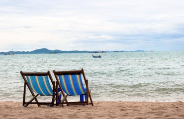 couple beach chair for lover on beach and sea