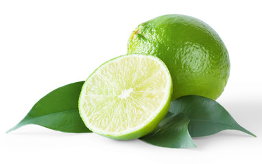 Ripe bright lime with leaves
