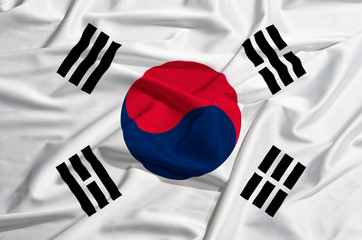 South Korea flag on a silk drape waving