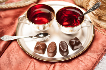 chocolate candy, tea