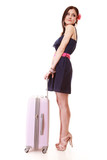 Young summer girl with travel suitcase isolated