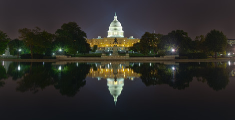 Washington, DC - Reflection of US Capitol building at night