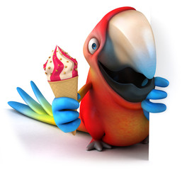 Parrot and ice cream