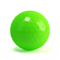 Green massage fit-ball isolated on white background