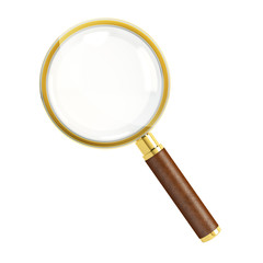 Golden magnifying glass isolated over white background