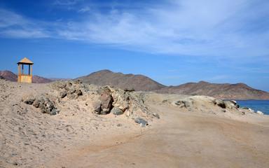 Road in desert Sinai mountains