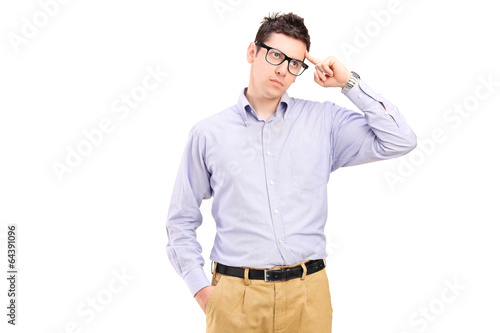 Young man trying to remember something