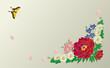 和の花と蝶