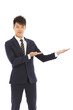 businessman with welcome and showing gesture