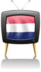 A television with the flag of the Netherlands