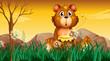A cute bear holding a pot of honey