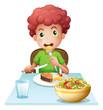 A boy eating