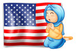 A Muslim praying in front of the USA flag