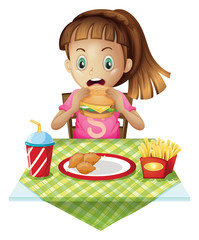 A hungry child eating