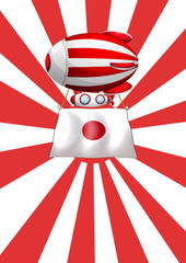 A floating balloon with the flag of Japan