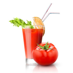 red tomato and glass of juice isolated on white background