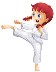 A young lady doing karate