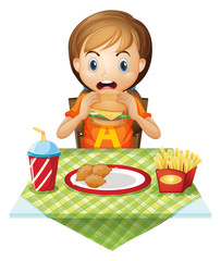 A child eating at a fastfood restaurant