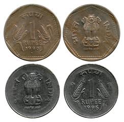 one rupee, India, 1990-1996