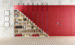 Red Living room with wooden staircase and bookcase
