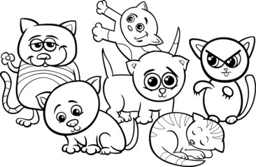 cute kittens cartoon coloring page