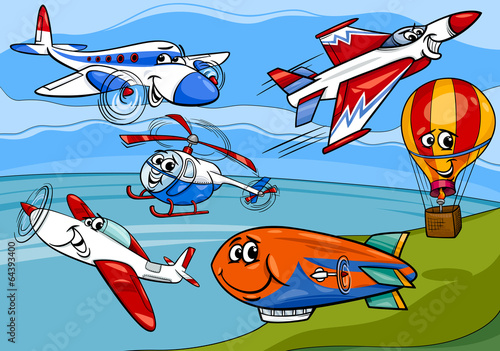 planes aircraft group cartoon illustration