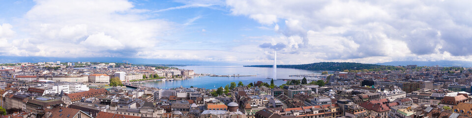 Panoramic view of city of Geneva, the Leman Lake and the Water © Black-photography