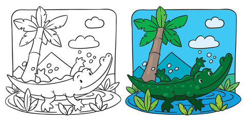 Little crocodile coloring book