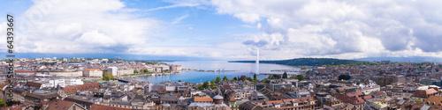 Leinwanddruck Bild Panoramic view of city of Geneva, the Leman Lake and the Water