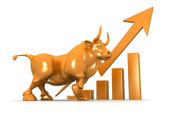 Business growth chart and bull