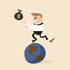 Businessman chasing money on earth