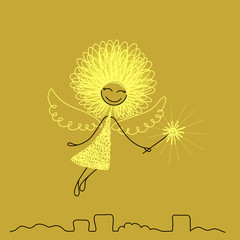 Funny girl with wings and wand