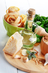 Ingredients for pasta pesto