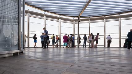 People on Burj Khalifa observation deck.