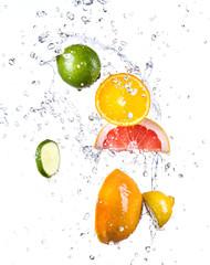 Fruit with water splash
