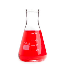 chemistry flask with red liquid