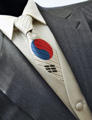 Wedding dress with flag Korea on tie