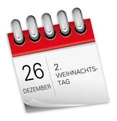 Kalender rot 26 Dezember 2. Weihnachtstag