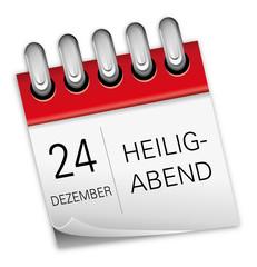 Kalender rot 24 Dezember Heiligabend