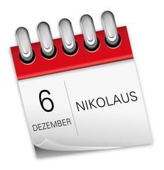 Kalender rot 6 Dezember Nikolaus