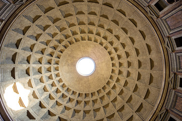 oculus on the top of Pantheon in Rome, Italy