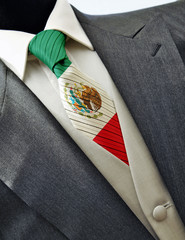 Wedding dress with flag Mexico on tie