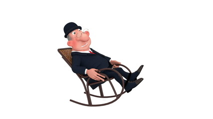 The 3D businessman has a rest in a chair.