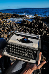 Vintage black and white Travel Typewriter