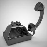 old black telephone is open