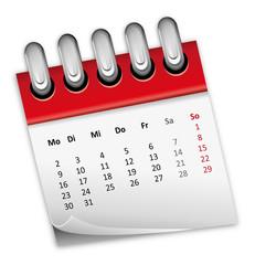 Kalender rot Monat zahlen Ziffern 2014 2015 2016