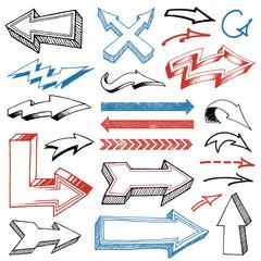Grunged Hand Drawn Arrows set
