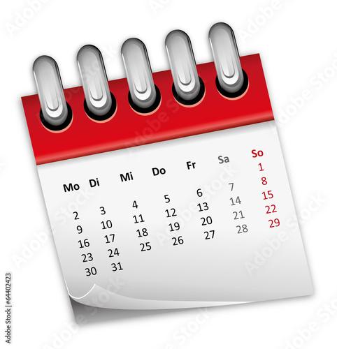 Kalender rot Monat zahlen Ziffern 2014 2015 2016 - 64402423