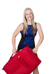 blond young adult with suitcase